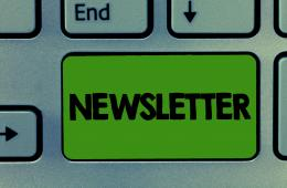 key board with word newsletter