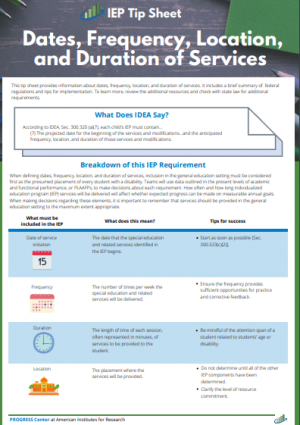 Cover of Dates, Frequency, Location and Duration of Services IEP Tip Sheets