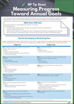 Cover of Measuring Progress Toward Annual Goals Tip Sheet
